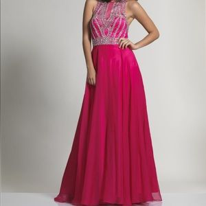 Dave & Johnny Pink Sequin Chiffon Prom Gown 9/10